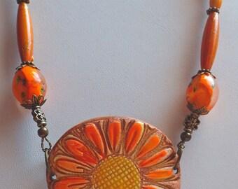 Orange Ceramic Sunflower Pendant Necklace