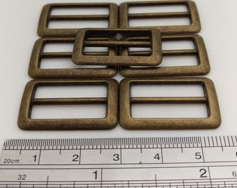 Vintage Metal Ring Buckle, Antique Brass, Rectangular, Size: Outer 32mm x 22mm, Inner Width 26mm