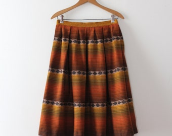 vintage 1950s wool skirt // 50s orange wool pleated skirt