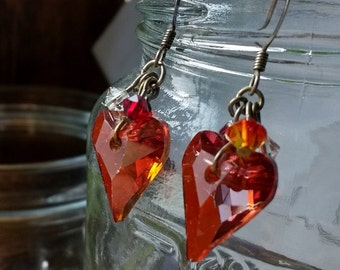 Ruby Red Swarovski Heart Earrings - Romantic