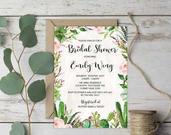 Succulent Bridal Shower Invitation. Green Cactus Wedding Shower Invite. Fiesta Botanical Rustic Pink Floral Roses DIY Party Invitation. CAC1