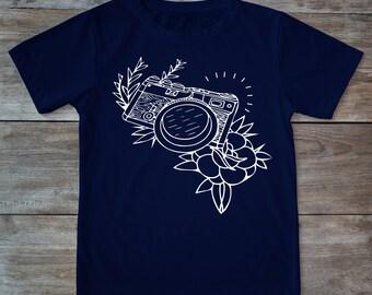 Camera shirt, tattoo camera, flower shirt, tattoo shirt, classic tattoo art, old school shirt, hipster gift, gift for tattoo lovers, retro