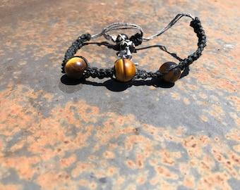 Tiger Eye Adjustable Hemp Cord Bracelet