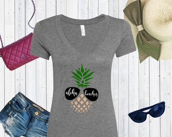 Aloha Beaches V neck High Quality Tshirt / Comfy Triblend Vneck / Vacation T-shirt [A0106]