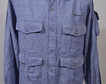 Vintage 1960s Large LL Bean Blue Chambray Button Front Fishing Outdoors Camping Shirt
