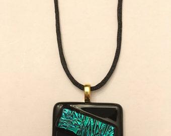 Dichroic Emerald Green/Black Pendant Necklace