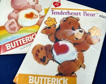 Love-a-Lot Bear and Tenderheart Bear Care Bear Patterns, vintage, uncut, factory folded, American Greetings, 1980s,  Patterns 6232 & 6227