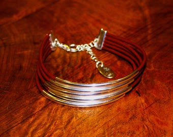 Silver Tube Brown Leather Bracelet