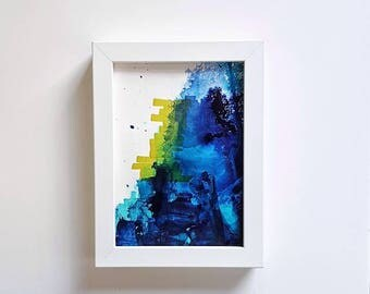 mini study// blues #4//abstract original artwork// teal,navy, midnight blue//modern home decor//pretty wall art//anniversary,birthday