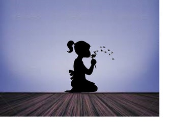 Little Girl Silhouette Dandelion Wall Decal