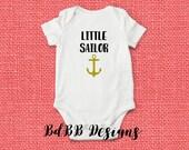 Little Sailor Baby Onesie / Take Home Outfit / New Dad Gift / Navy Baby Onesie / Nautical Onesie / Baby Boy Clothes / Anchor Baby Onesie