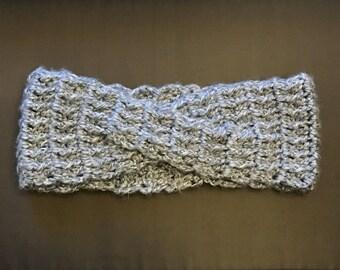 Crochet Ear Warmers Criss Cross Adult Gray Handmade Headband