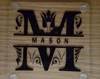 Personalised Split Monogram Perspex Acrylic Square Coaster