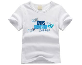 Personalized big brother shirt. Sibling shirt. Shark and whale design. Custom sibling shirt with shark. Big brother tshirt. New baby shirt.