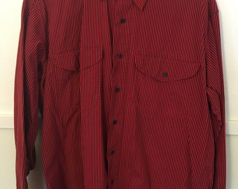 Red / Navy Stripe 80's 90's Ranch Style Expressions Long-Sleeve Collared Button-Up Pockets Size Large Made in Jamaica