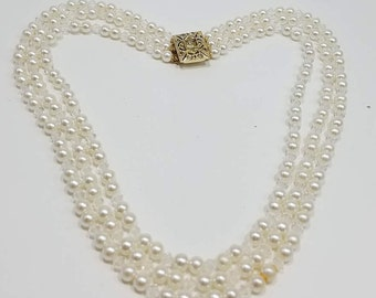 Gorgeous Triple Strand of Faux Pearls and Crystals with Ornate Gold Tone Clasp with Rhinestones