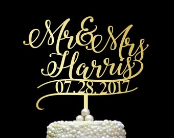 Surname cake topper, Custom Wedding Cake Topper, Personalized Cake Toppers, Mr and Mrs Cake Topper with date, gold Cake Toppers,  CT#063