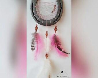Horseshoe Dream Catcher in pink cream