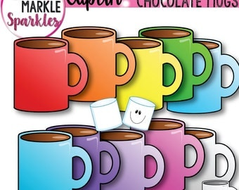 Winter Hot Chocolate Rainbow Mugs with Marshmallow Clipart
