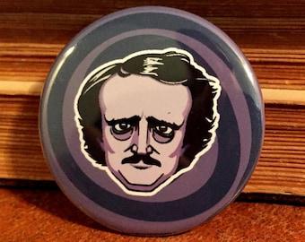 """Edgar Allen Poe 1 & 1/4"""" Pin Back Button"""