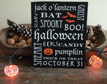 Spooky Halloween Words Sign