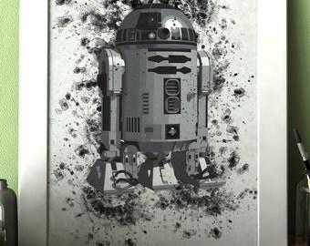 R2-D2 Robot Star Wars Movie Watercolor print poster Art Wall Decor no.123