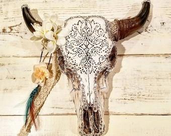 White Boho Bull Skull