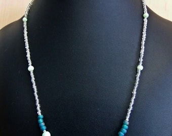 Handmade beaded teal and blue necklace