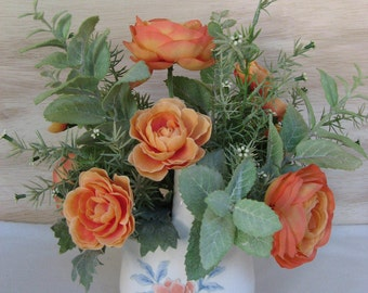 Spring Floral Arrangement Pale Orange Ranunculus Mint Foliage Small Oval Ceramic Basket with Handle Faux Silk Artificial Easter Centerpiece