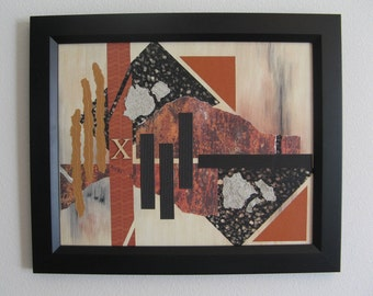 Mixed Media Collage on Acrylic Background with Black Orange Rust Gold Textured Art Papers & Paint Chips in Wood Frame Wall Decor