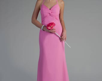Pink chiffon bridesmaid/ prom/ evening gown