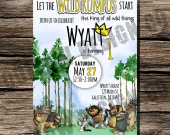 Where The Wild Things Are Birthday Invitation 5x7 4x6 Invite Personalized Digital Download Printable Customized Boy Girl Wild Rumpus DIY