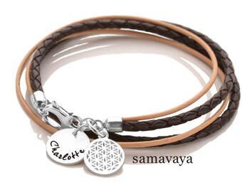 Leather strap 2-in-1 flower of life, 925 silver bracelet name jewelry