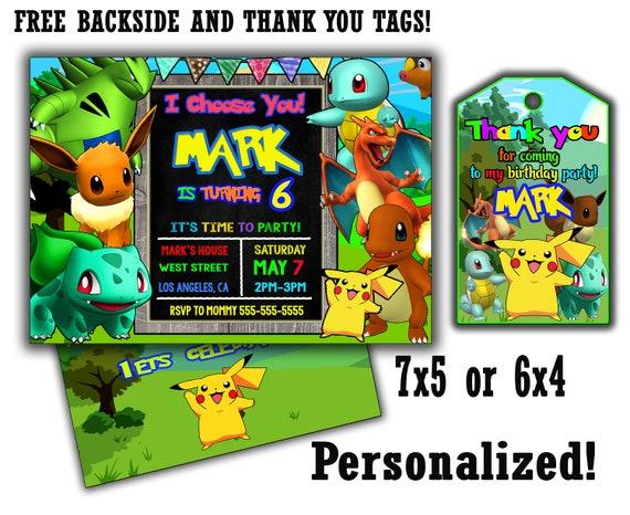Pokemon Birthday Invite 20 OFF