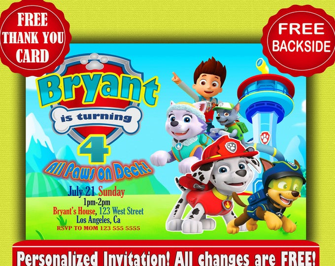 Paw Patrol Invitation SALE Birthday Invitation Printable invitation paw patrol party paw patrol invite paw patrol invites paw patrol
