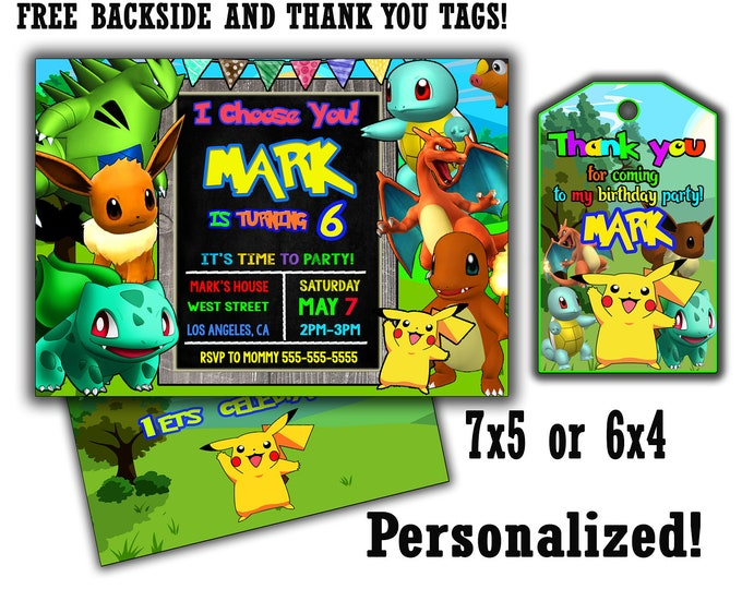 Pokemon invitation, Big Sale! Pokemon invite, pokemon birthday invitation, pokemon birthday invite, digital file, pokemon party