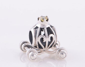 Authentic Sterling silver Princess carriage charm beads perfect fit for pandora and troll or european bracelets