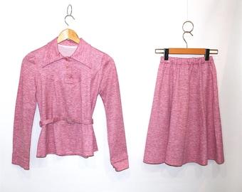 Vintage Clothing • Two-Piece Set • 1960's- 1970's Bubblegum Pink •Cozy Skirt Suit •Elastic Waistband