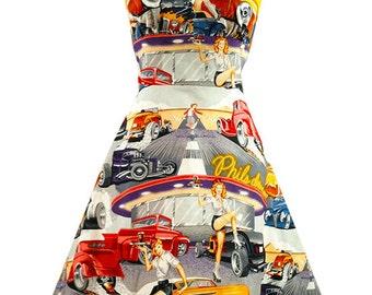 Rockabilly Dress Retro 1950s halter dress Drive In