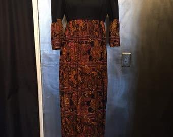 1970s paisley maxi dress- L
