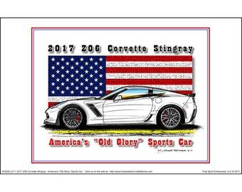 America's Old Glory 2017 C7 Corvette Z06 Coupe - American Flag Car Art Print,2017 Corvette Coupe Z06,17 Production Z06,Corvette Art
