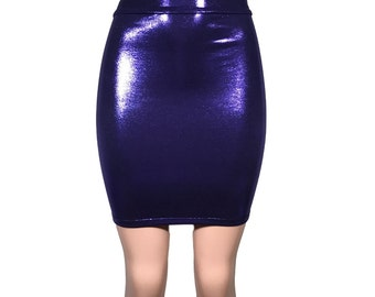Purple Metallic High-Waisted Pencil Mini Skirt - bodycon club or rave wear