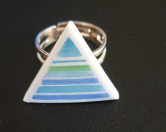 Ring Triangle Horizon Blue HANDPAINTED ceramic
