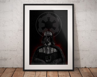 Type Vader Print, Star Wars Typographic Poster, Wall Art, Star Wars Gifts