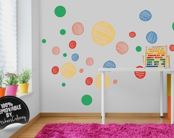 Polka dot wall decal, Colorful shapes wall decal for Kids room, Dots wall decor, Removable, Peel and Stick, Wall sticker #79