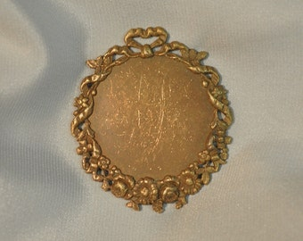 Vintage French Ribbon and Floral Style Brass Closed Back Portrait Setting 102J 103J