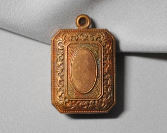 Vintage French Locket or Fob Pendant Charm Finding Ornate Raw Brass Stamping 2 Pieces 392J