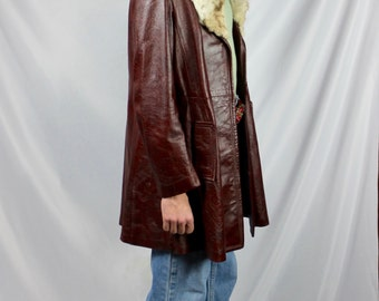 Genuine Burgandy Leather Jacket with Real Fur Collar
