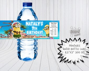 Minion water bottle label, Minion birthday party, Printable water bottle labels, Minion bottle wraps, Minion birthday
