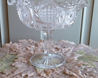 EAPG Vintage Clear Pressed Glass Compote